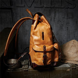 Backpack Luxury Mens Cow Leather  Bag Large Capacity Retro Shoulder Bag Military Style Travel Bag