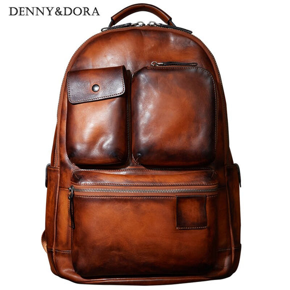 Mens Cow Leather Backpack  Luxury Leather Bag Simple Military Style