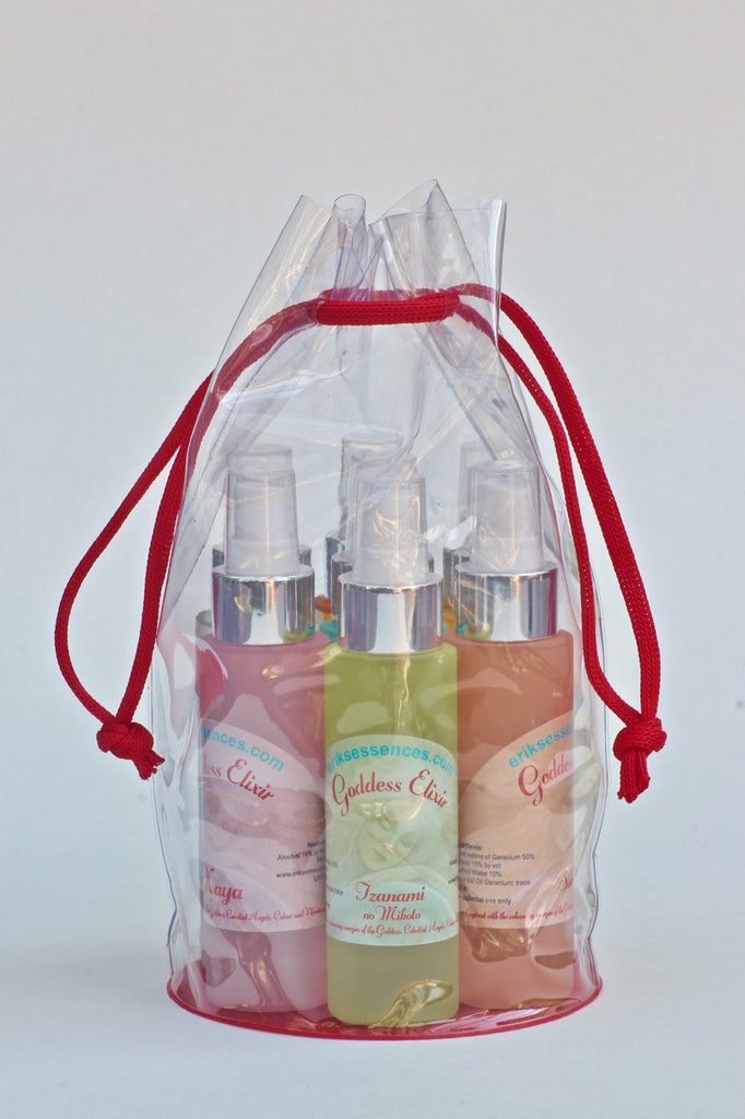 50ml set of Goddess Elixirs in a clear carrying bag.