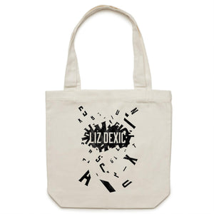 Open image in slideshow, Canvas Tote Bag - Logo Jumble - Black Print