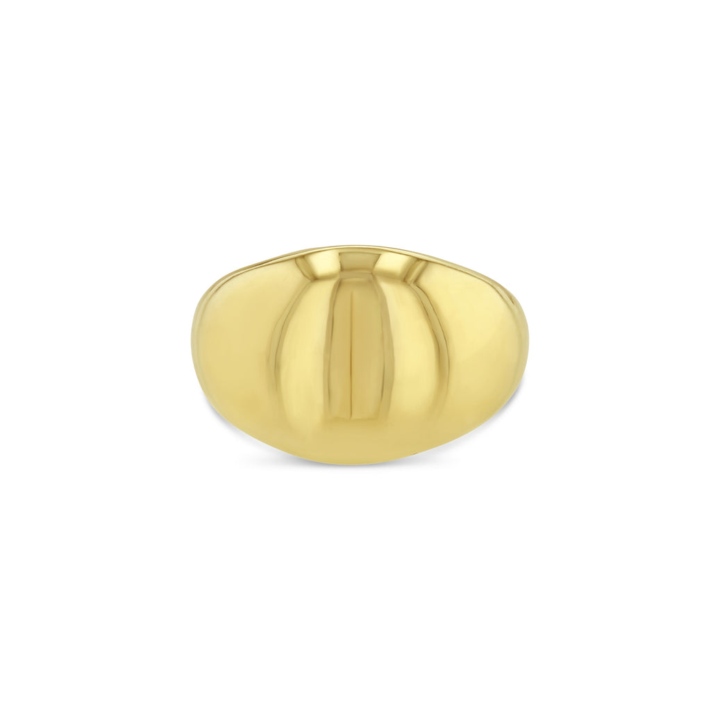 Yellow gold dome ring facing forward against white background.