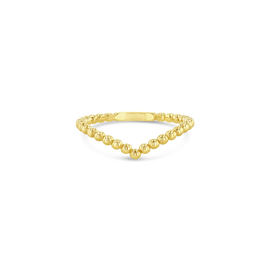 Beaded V shaped yellow ring.