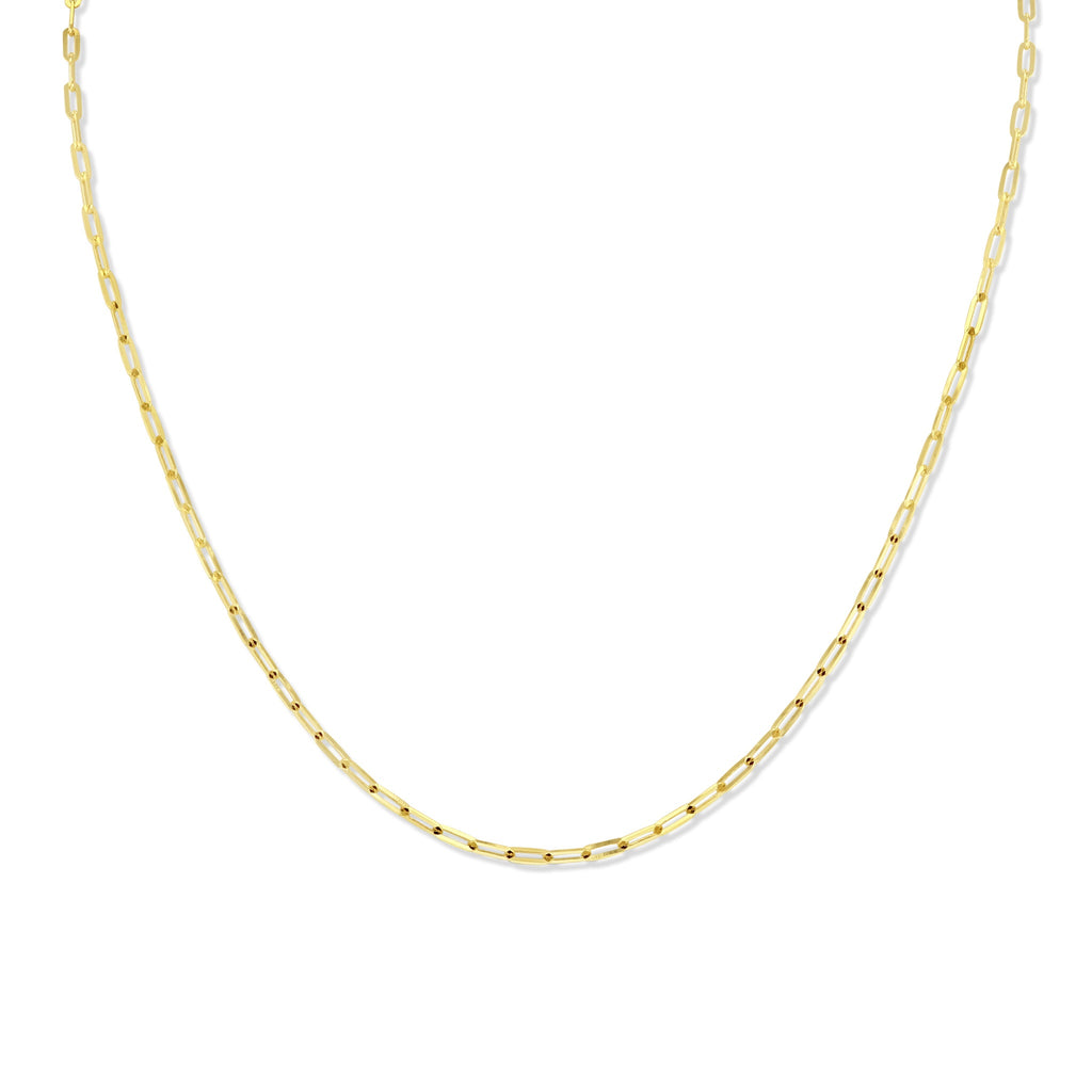 Yellow gold paperclip necklace. Necklace is against white background.  Delicate and round paperclip links.