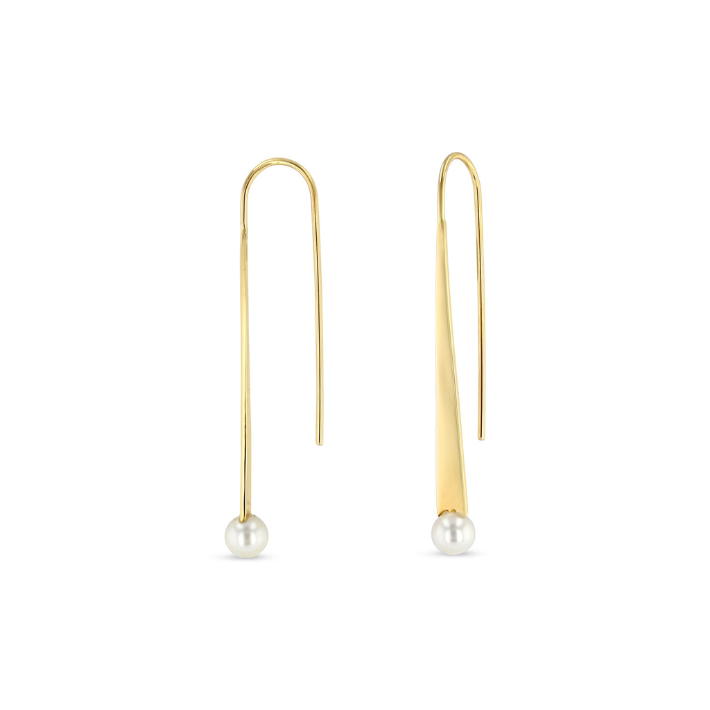 Product image of pearl bar drop earrings against white background. Solid yellow gold thread through earrings. White freshwater pearl at end of earring.