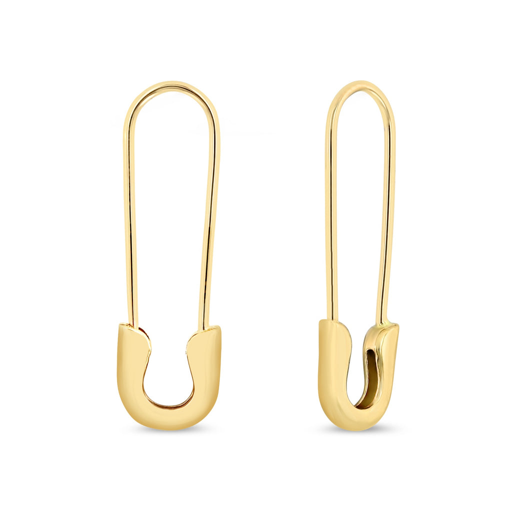 Yellow gold safety pin earrings.  One earring is slightly at an angle to show thickness of earring.  Earrings are against white background.