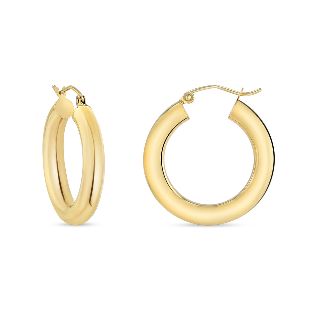 Yellow gold thick hoops.  They have a snap back closure.  Earrings are against white background.