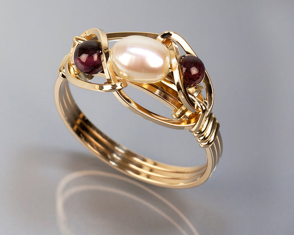 Garnet and Pearl Wire Wrapped Ring