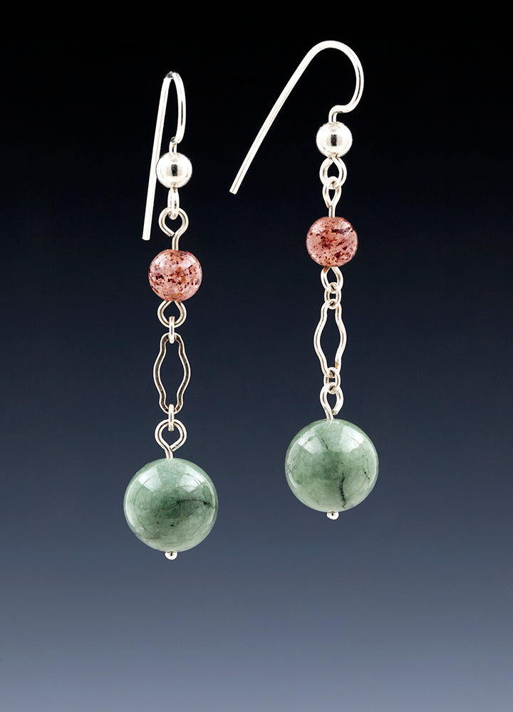 Strawberry Quartz and Burmese Jade Drop Earrings.jpg