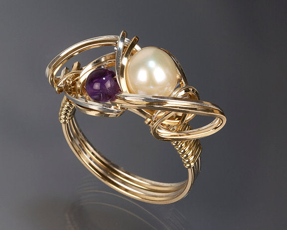 Amethyst and White Pearl Ring