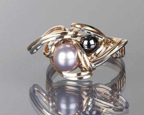 Purple Pearl and Hematite Ring