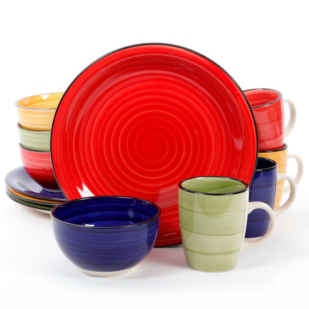Gibson Home Color Vibes 12 Piece Round Dinnerware Set, Assorted Colors