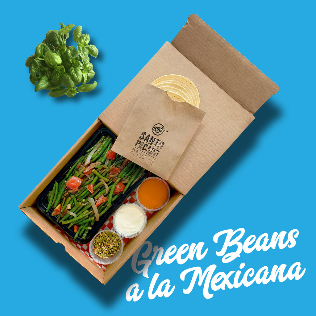 Taco Kit Green Beans a la Mexicana Sauteed green beans with caramelized onion, tomato and a touch of our secret blend of Mexican spices Santo Pecado Mexican Catering Toronto Canada