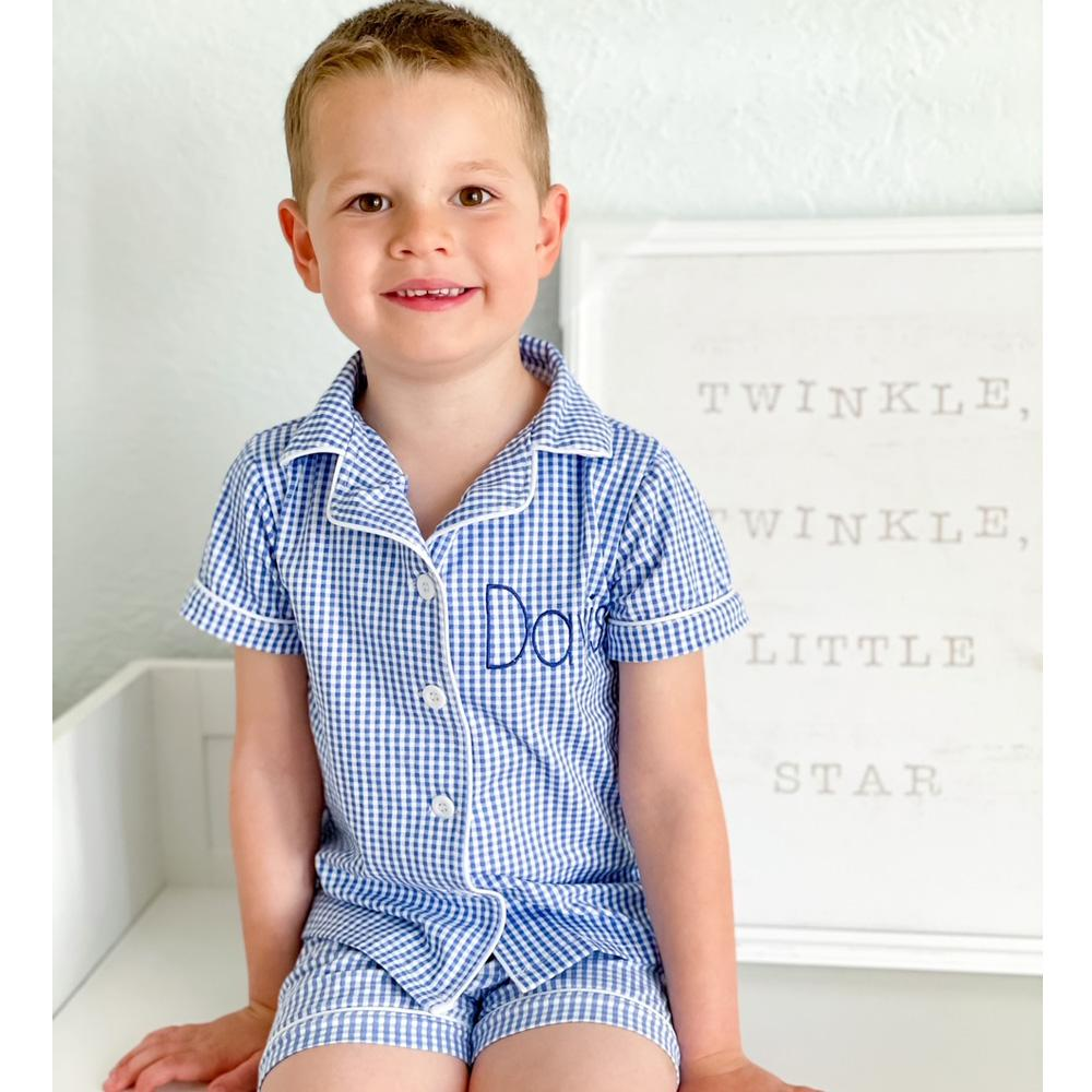 Blue Gingham Button Down Pajamas Kids and Adults