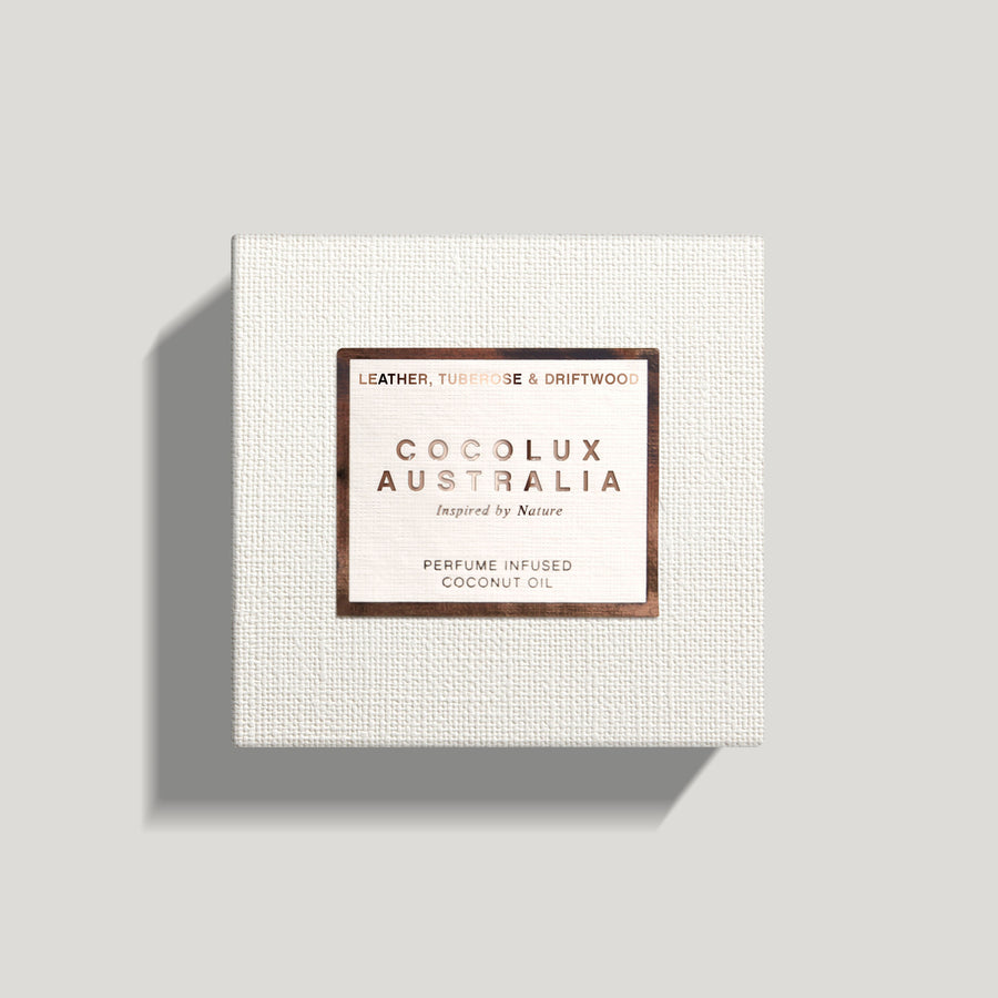 COCOLUX AUSTRALIA - SOL | LEATHER, TUBEROSE & DRIFTWOOD - SMALL COPPER LUXURY CANDLE