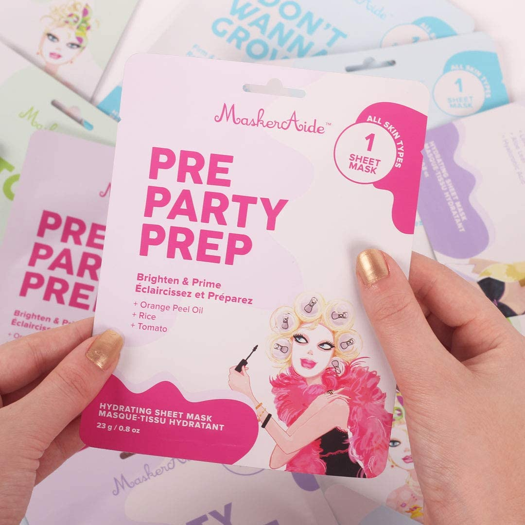 MaskerAide Pre Party Prep Brightening Sheet Mask, 3 pack