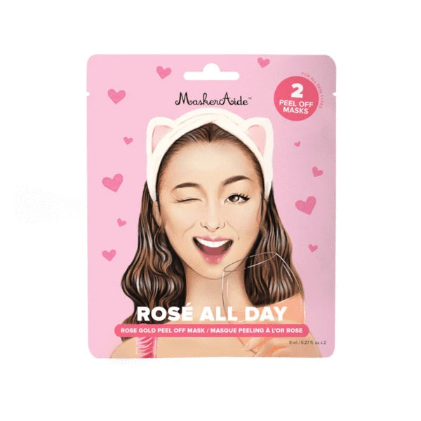 MaskerAide Rosé All Day Rose Gold Peel Off Mask, 3 Pack
