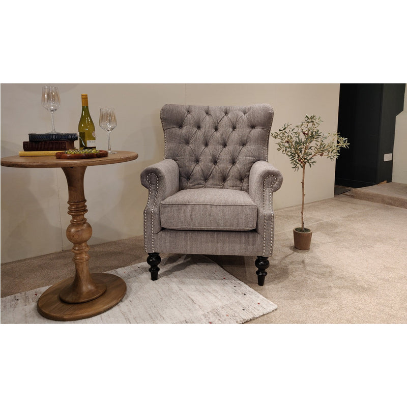 Darcy Linen Chair Mid Grey from Upstairs Downstairs Furniture in Lisburn, Monaghan and Enniskillen