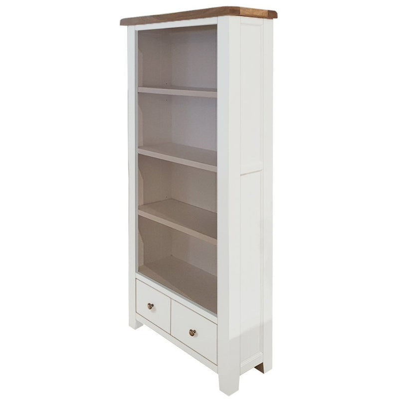 white bookcase with 4 shelves and 2 drawers