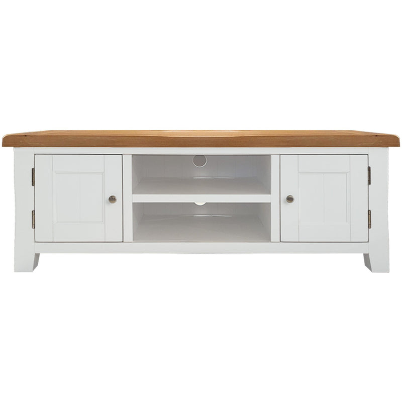 white tv unit with oak top