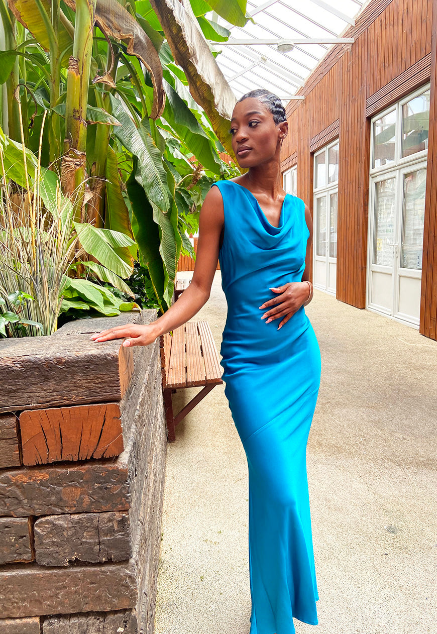 Shollyjaay slip-dress with cowl neck in Teal