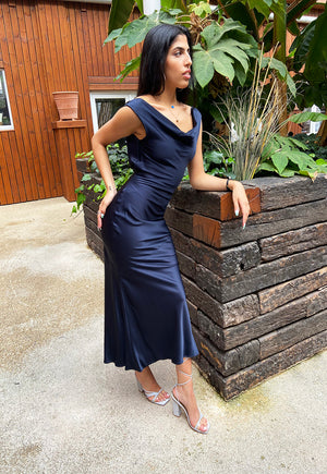 Shollyjaay slip-dress with cowl neck in navy-blue