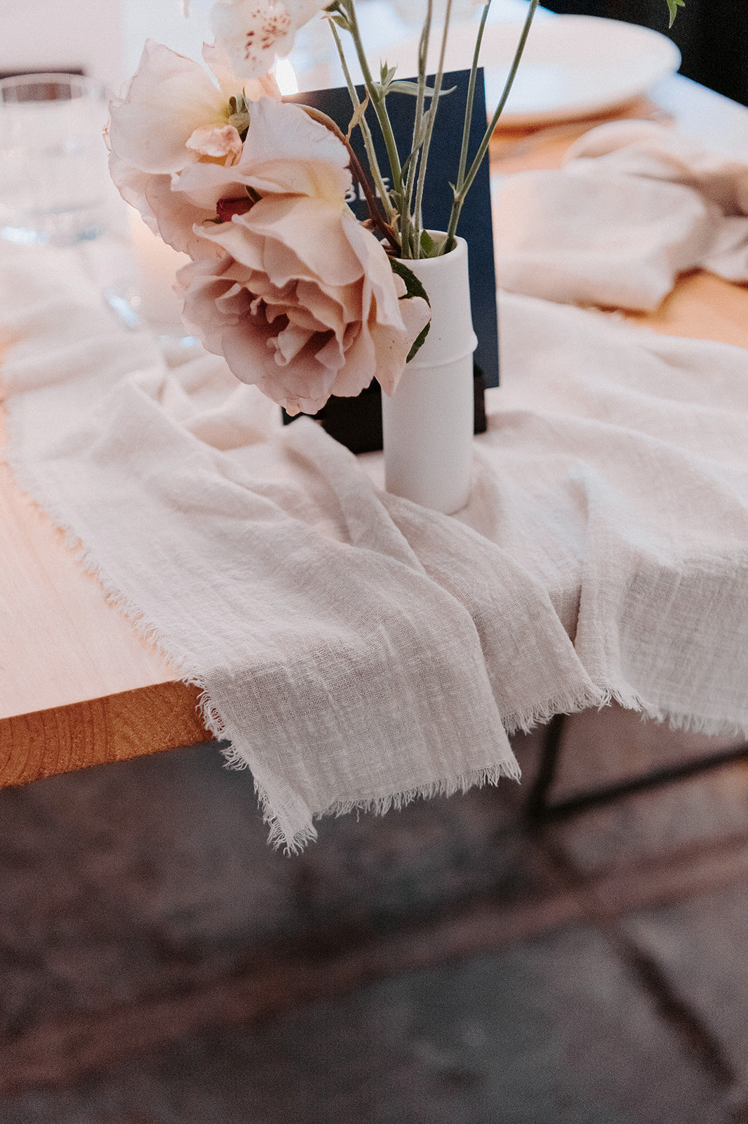 ivory neutral cotton frayed table runner