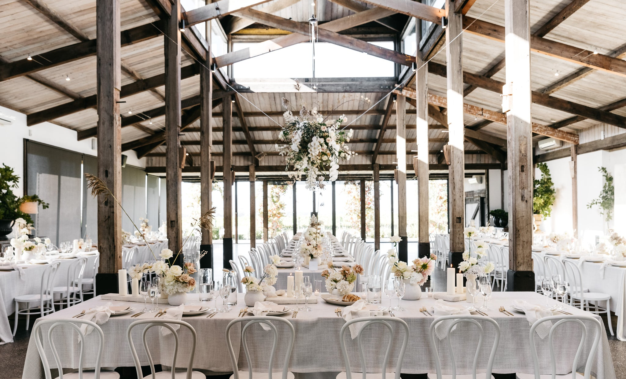 wedding reception stones of the yarra valley white themed