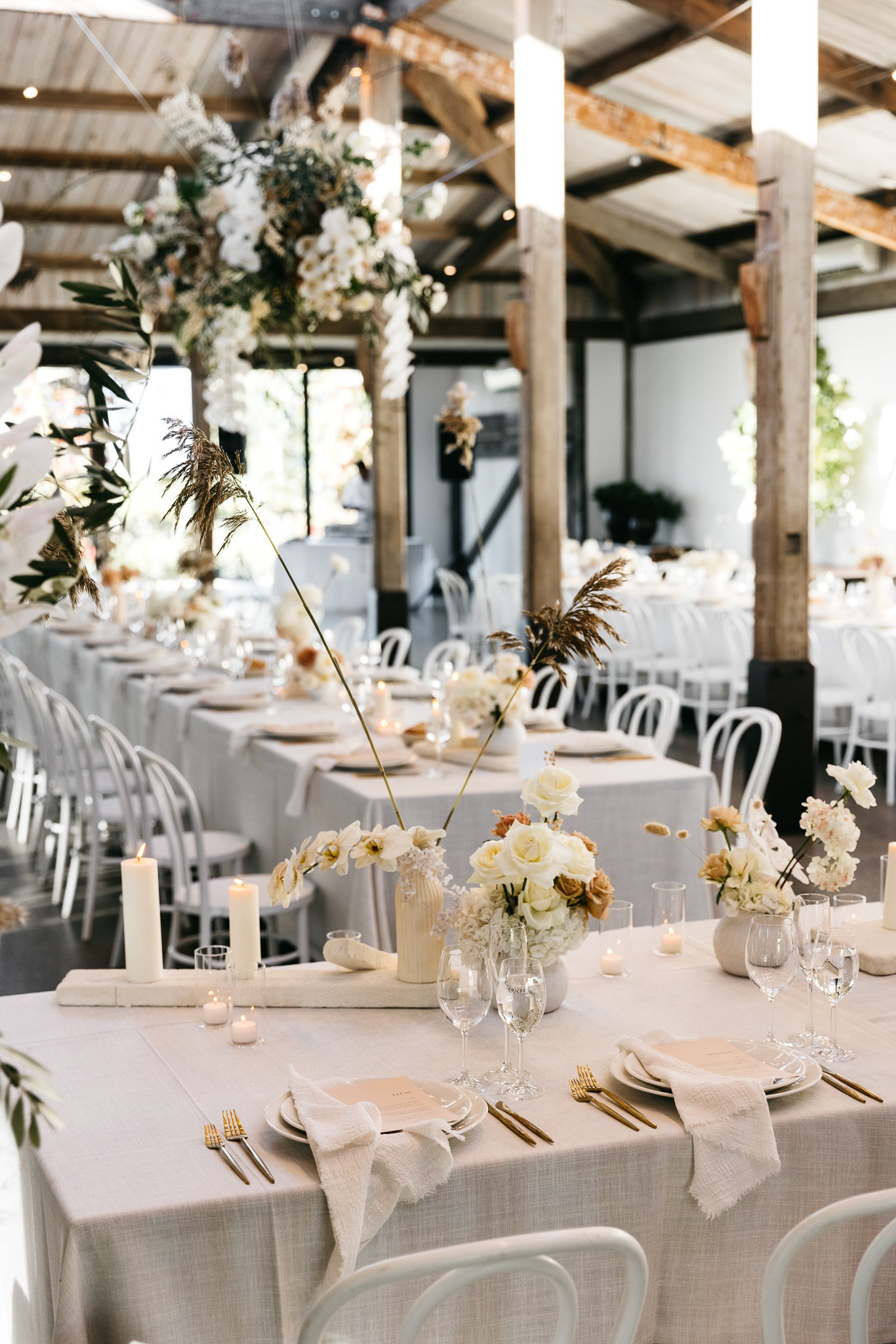 white table linen white frayed napkins wedding reception stones of the yarra valley