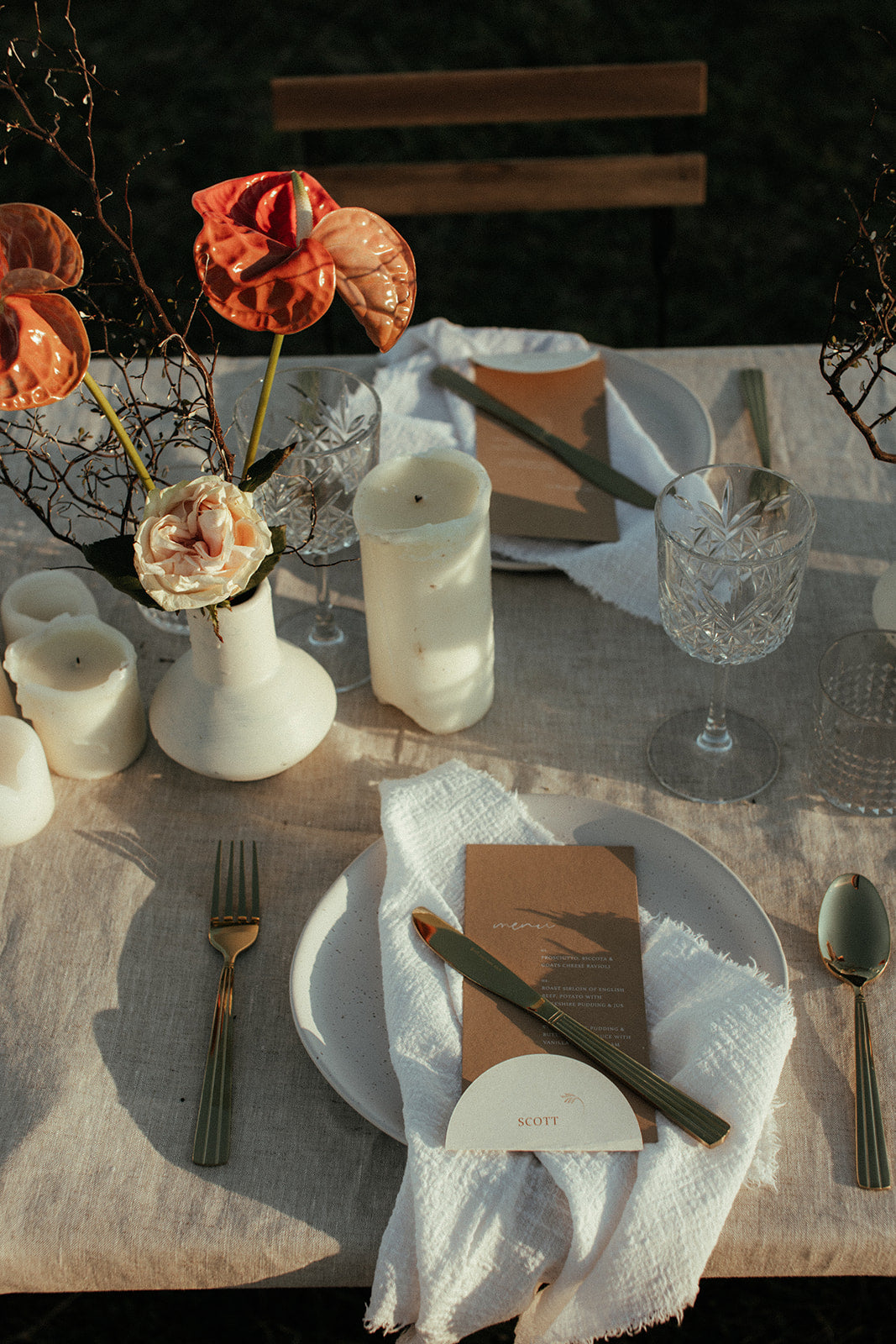 Beach Outdoor Wedding Table setting natural tablecloth white napkins