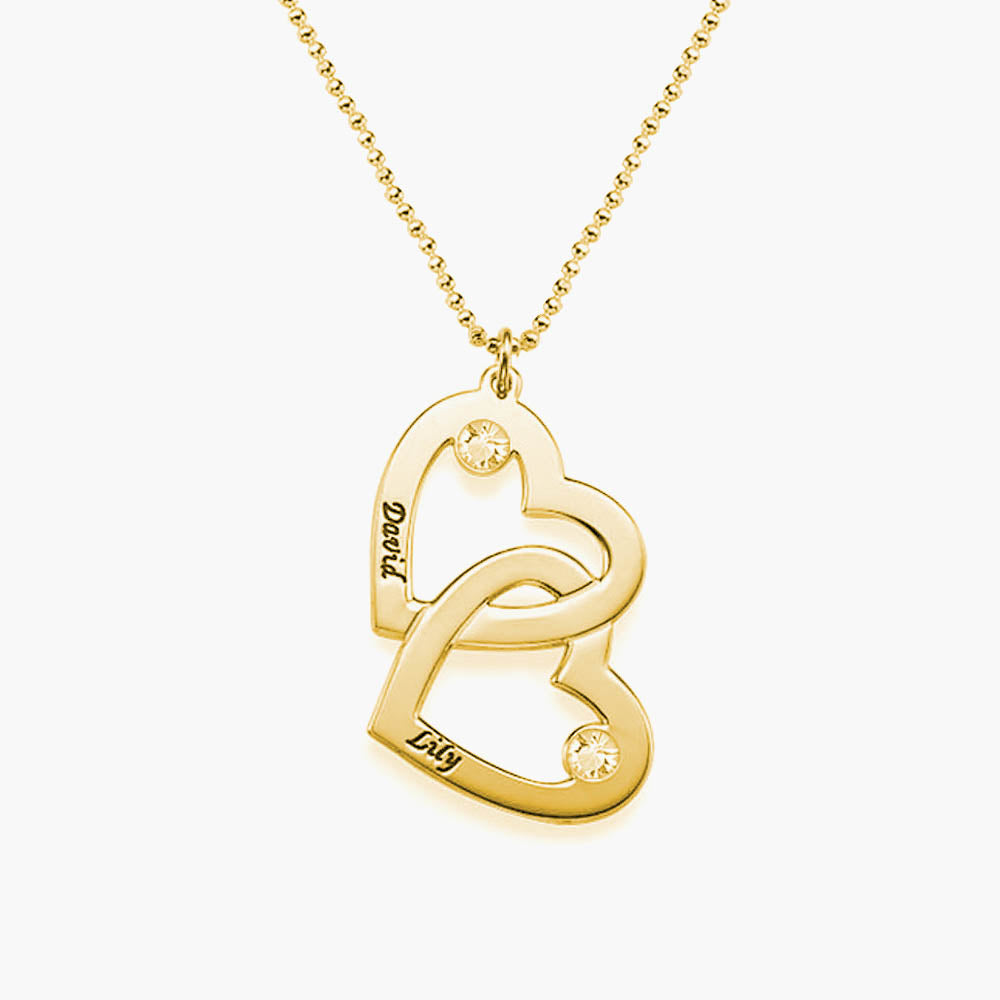 Gold-Plated Heart in Heart Necklace with Birthstones