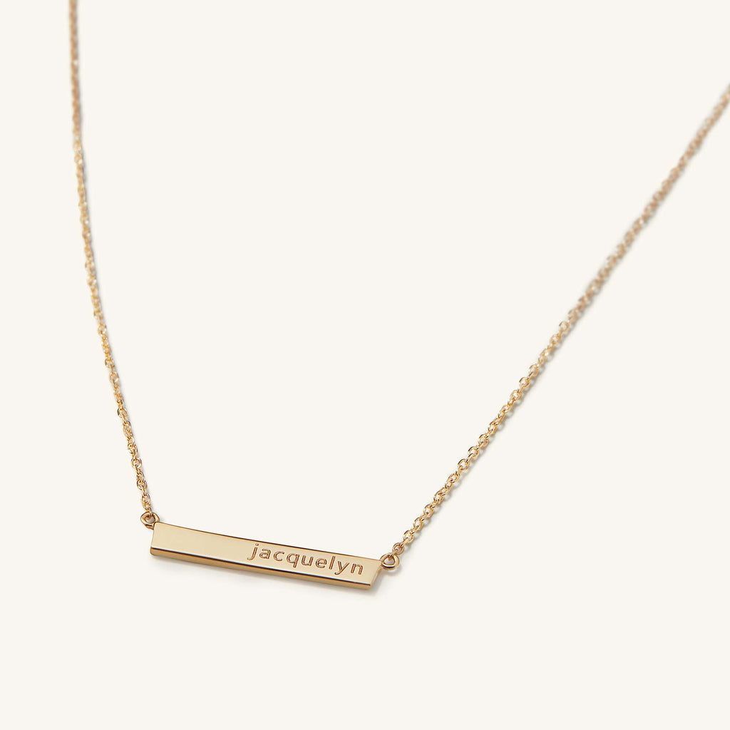 Custom Bar Necklace  | Engravable | 14K