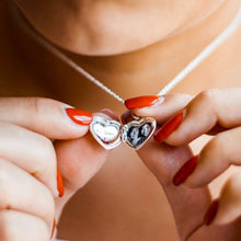 Load image into Gallery viewer, Engraved Heart Photo Locket Necklace Silver