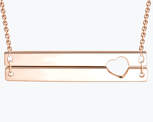 Engraved Double Bar Necklace Rose Gold Plated Silver