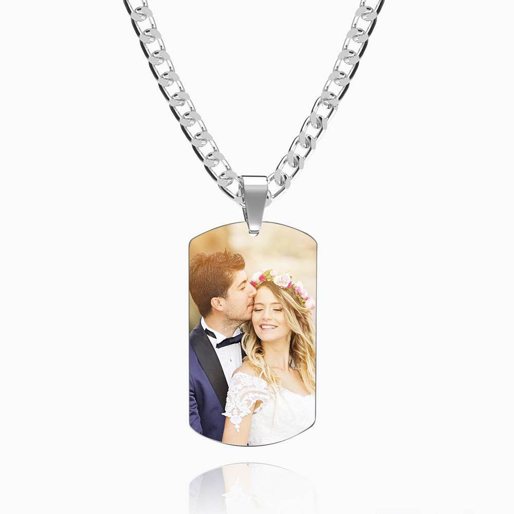 Men's Stainless Steel Dog Tag Photo Pendant For Him