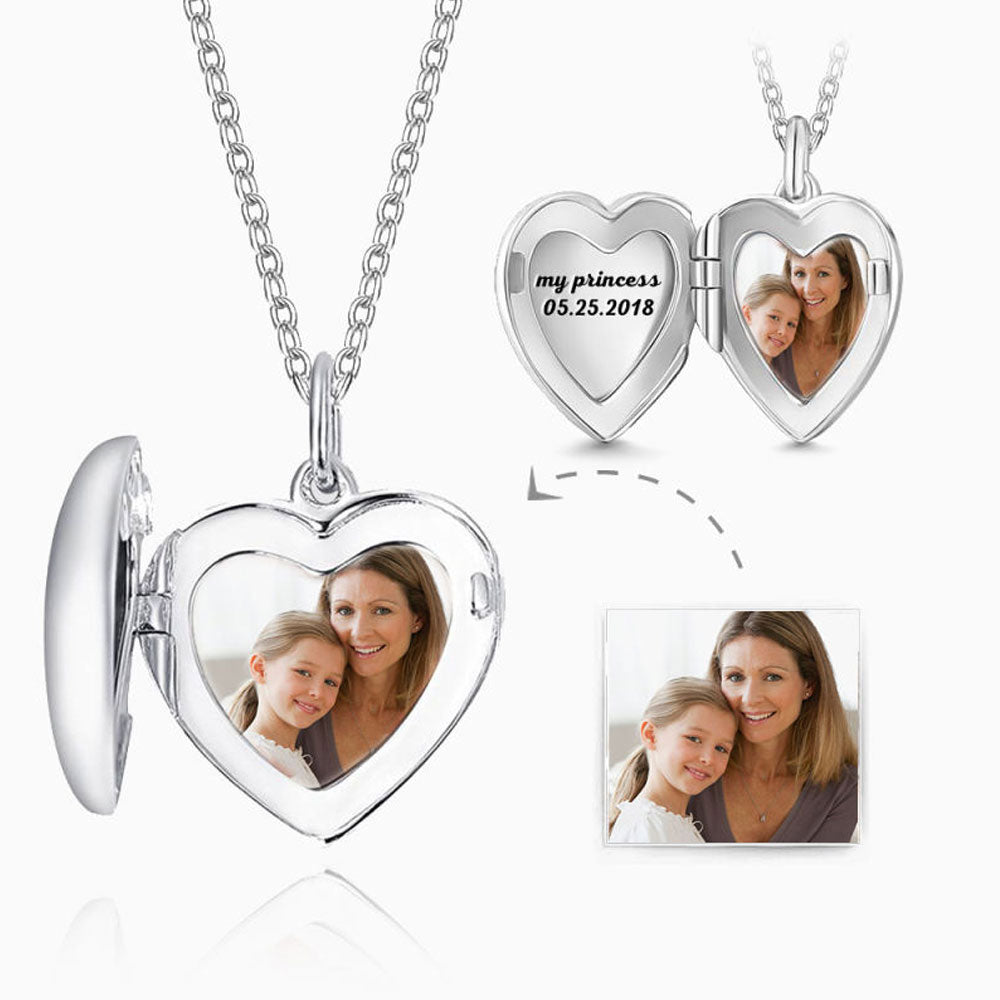 Engraved Heart Photo Locket Necklace Silver