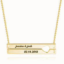 Load image into Gallery viewer, Engraved Double Bar Necklace Rose Gold Plated Silver