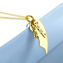 Load image into Gallery viewer, Couple's Necklace, Name Necklace Broken Heart 14K Gold Plated - Silver