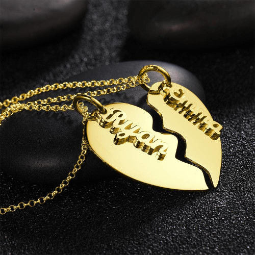 Couple's Necklace, Name Necklace Broken Heart 14K Gold Plated - Silver