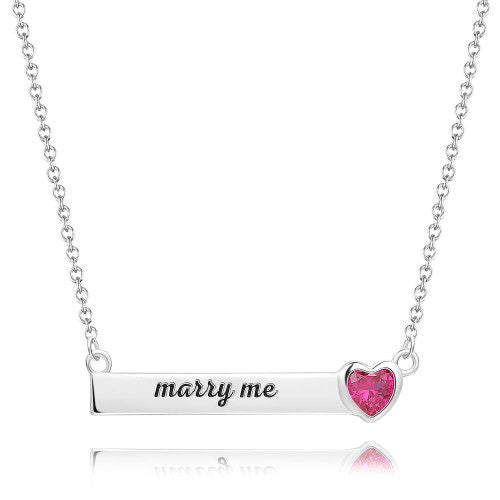 Rose Heart Bar Necklace With Engraving Silver