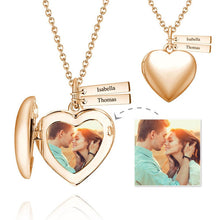 Load image into Gallery viewer, Heart Photo Locket Necklace With Two Engraved Bars Rose Gold Plated