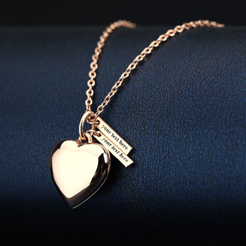 Heart Photo Locket Necklace With Two Engraved Bars Rose Gold Plated