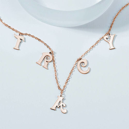 Personalized Name Necklace, Initial Letter Necklace Platinum Plated - Silver