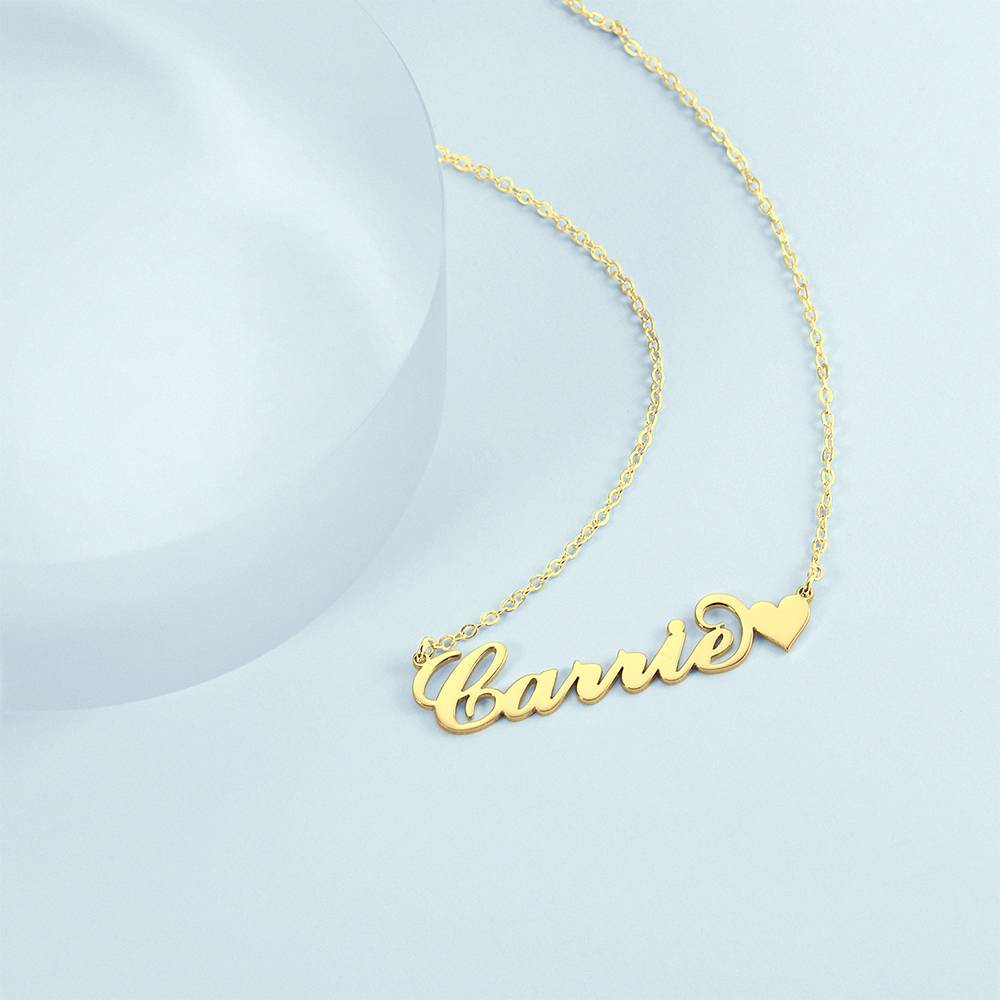 Carrie Style Name Necklace With Little Heart Girlfriend's Gifts