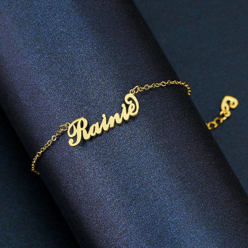 Children_s Name Bracelet 18K Gold Plated Length Adjustable