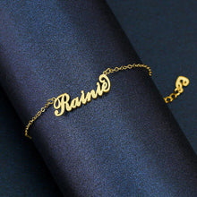 Load image into Gallery viewer, Children_s Name Bracelet 18K Gold Plated Length Adjustable
