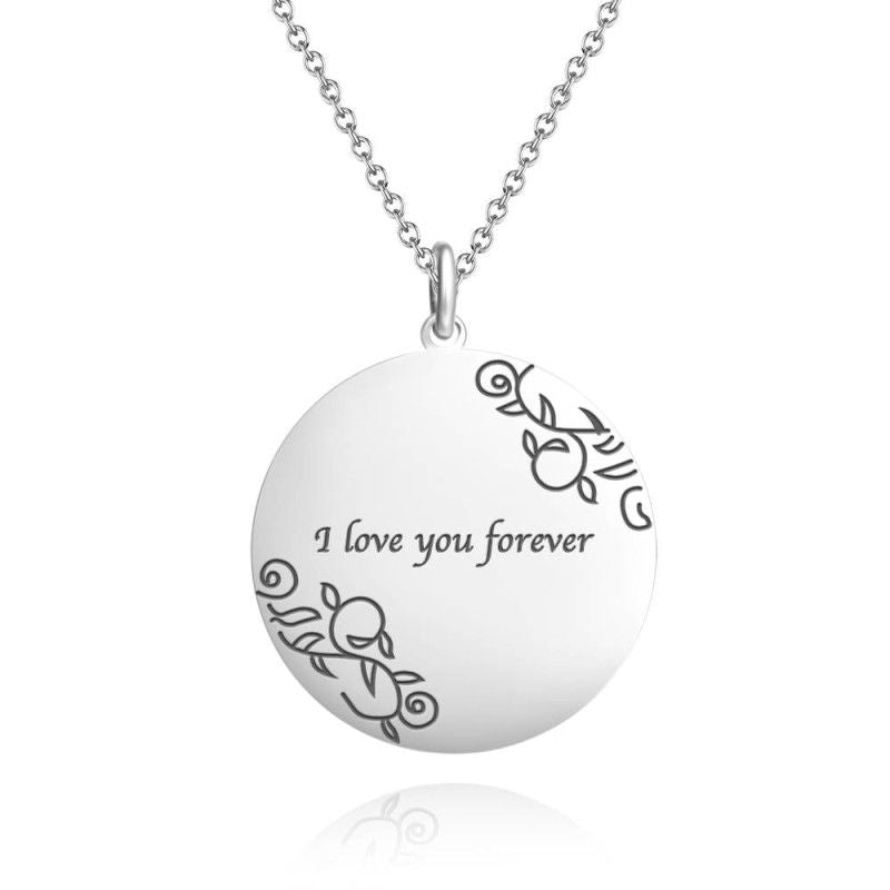 Round Photo Engraved Tag Necklace With Engraving Silver