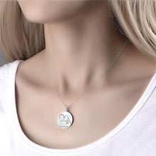 Load image into Gallery viewer, Round Photo Engraved Tag Necklace With Engraving Silver