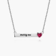 Load image into Gallery viewer, Rose Heart Bar Necklace With Engraving Silver