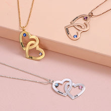 Load image into Gallery viewer, Gold-Plated Heart in Heart Necklace with Birthstones