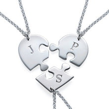 Load image into Gallery viewer, Puzzle Piece Necklace for Three with Initial